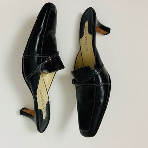 ANN TAYLOR Black Leather Mules/Slides Size 9